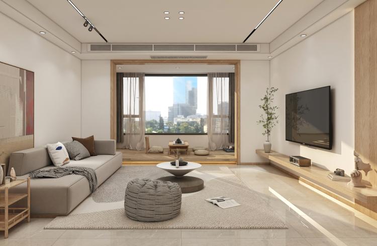 135平原木簡約四居室,懸浮式地臺電視柜