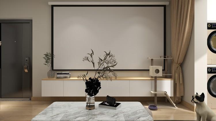 懸空電視柜 投影幕布 很有氛圍感