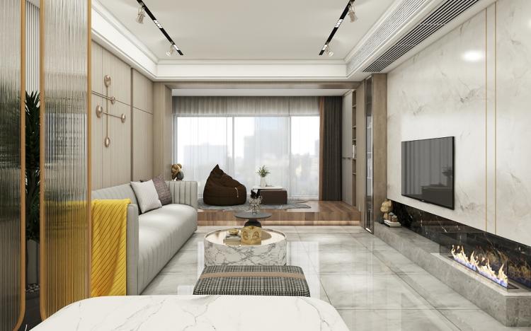142平現代風四居室,電視背景墻壁爐設計