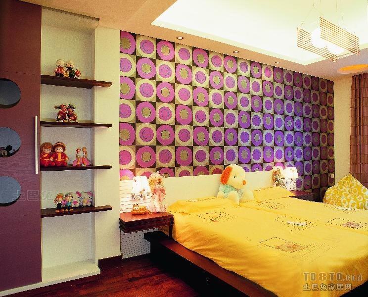 中式儿童房背景墙置物架装修设计效果图卧室潮流混搭卧室设计图片赏析