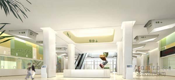 医院设计装修效果图 二区一层门诊入口大厅 高清图片