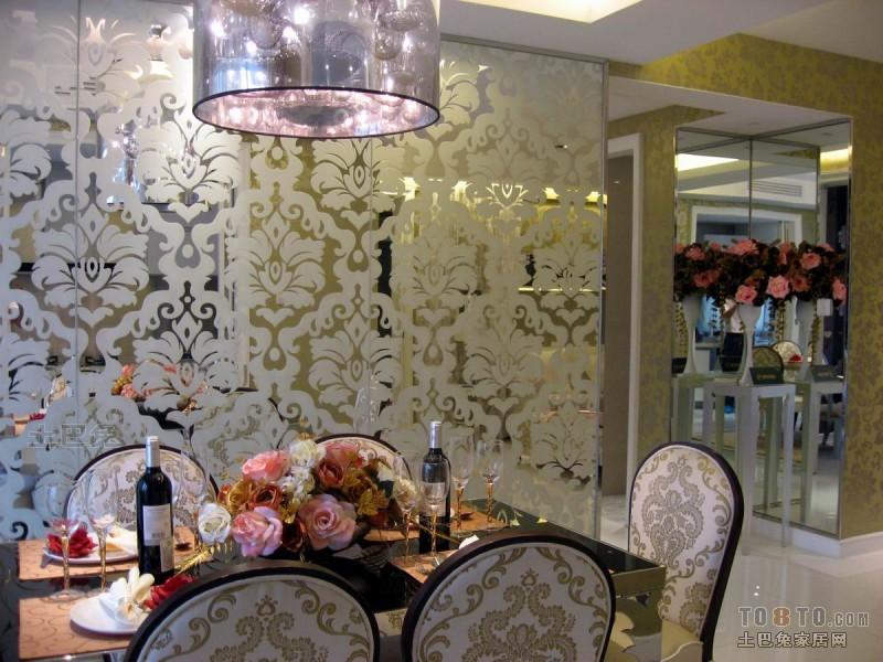 优雅77平混搭三居餐厅设计案例厨房潮流混搭餐厅设计图片赏析