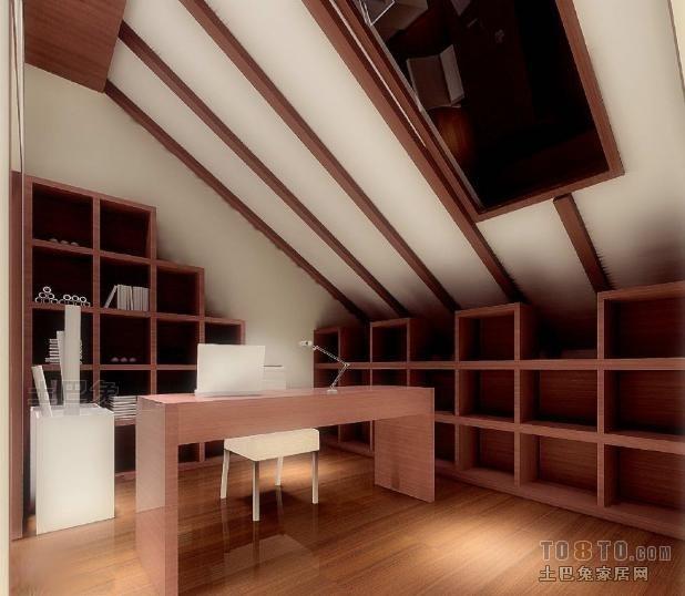 明亮80平混搭复式书房设计案例功能区潮流混搭功能区设计图片赏析