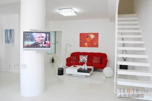 明亮66平混搭复式客厅实景图客厅潮流混搭客厅设计图片赏析