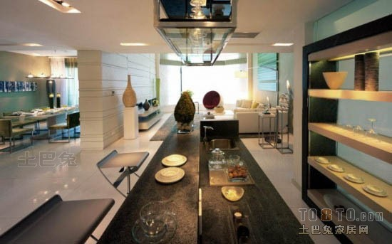 精选面积125平复式餐厅混搭装修效果图厨房潮流混搭餐厅设计图片赏析