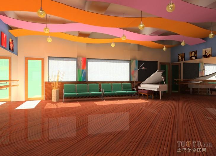 学校律动舞蹈教室设计-文化科研装修效果图