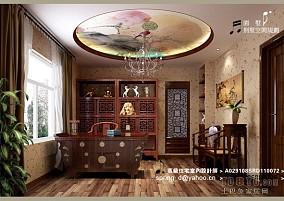 中式书房装修样板房效果图