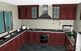 欧式风格半开放式厨房吧台图片