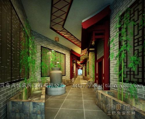 桑拿会所装修效果图列表->所属案例:足浴中心->二楼过道【单张高清图片
