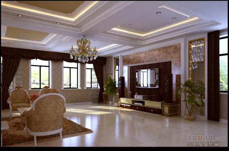 迎新别墅-欧式现代客厅装修效果图
