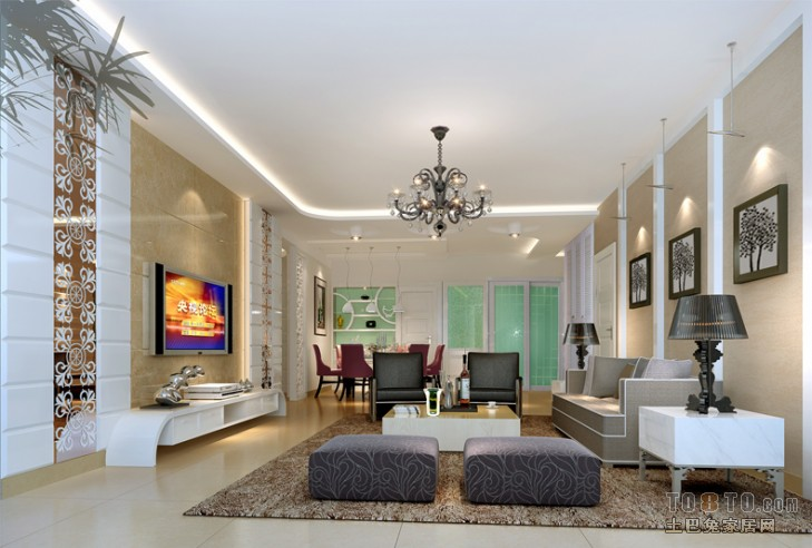 平混搭四居客厅案例图功能区其他功能区设计图片赏析
