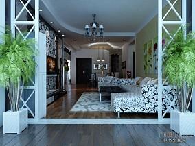 欧式豪华别墅风格卧室效果图