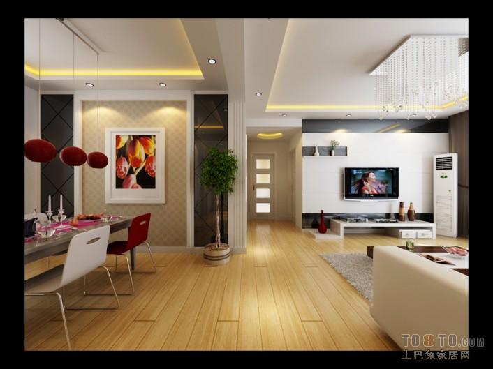 悠雅85平混搭二居餐厅设计图厨房潮流混搭餐厅设计图片赏析