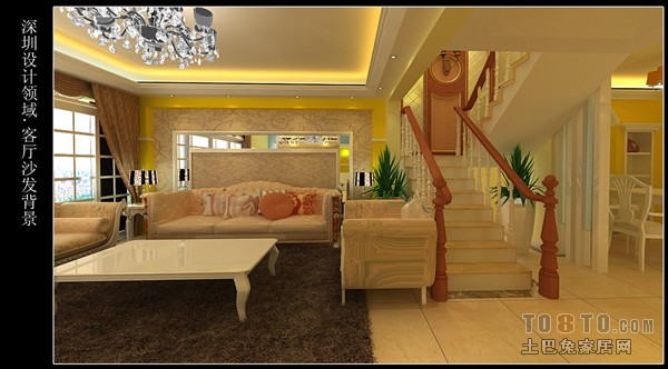 轻奢67平混搭复式客厅装饰图客厅潮流混搭客厅设计图片赏析