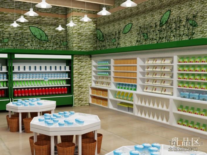 超市奶制品区货架装修图片购物空间设计图片赏析