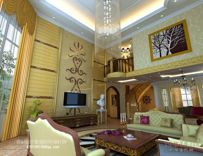 保利别墅挑空客厅装修效果图客厅潮流混搭客厅设计图片赏析