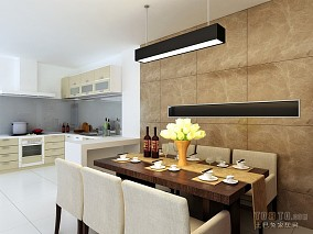 欧式开放式U型厨房装修效果图