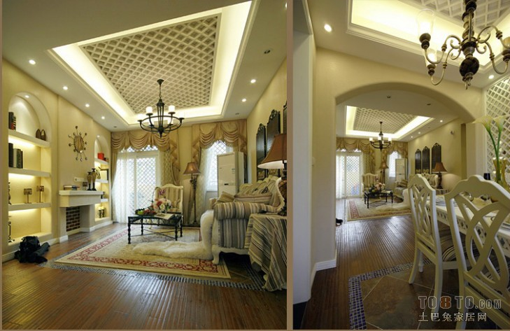 阿维侬庄园欧式奢华风四室二厅三卫装修案例效果图 258平高清图片