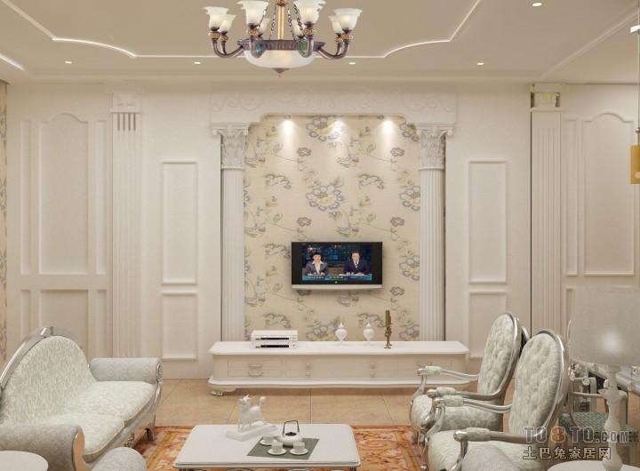 现代简欧客厅背景墙设计图片赏析