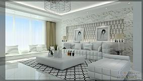 中式室内青砖墙效果图
