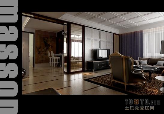 中式现代装修效果图 整套展示 样板间装修效果图 马森作品高清图片