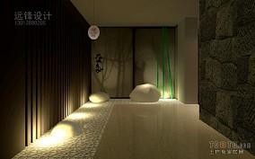 别墅新中式客厅效果图
