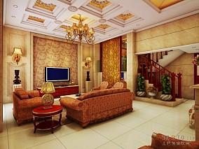 现代欧式客厅沙发背景墙效果图