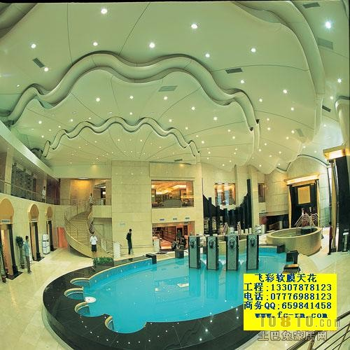 飞彩软膜天花吊顶装饰最新作品 桑拿会所装修设计案例高清图片