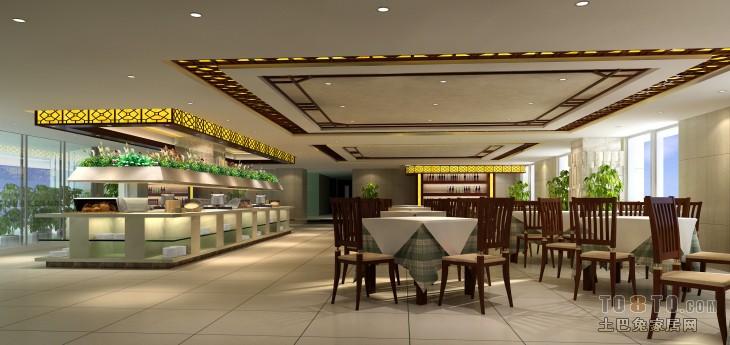中式自助餐厅-餐饮酒吧装修效果图