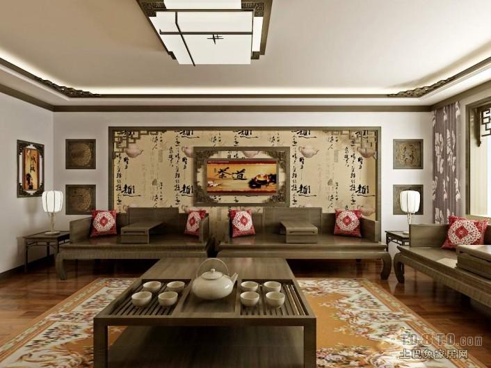 中式古典客厅装修效果图 单张展示 龙湖 大方居 半壁店限价房 装修效果高清图片