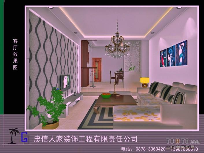 简约风格客厅装修效果图 居民房装修效果图 张礼富作品高清图片