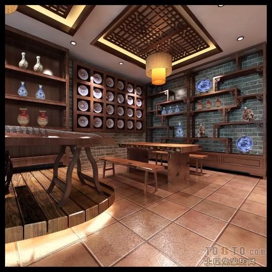 中式展厅效果图_装装修