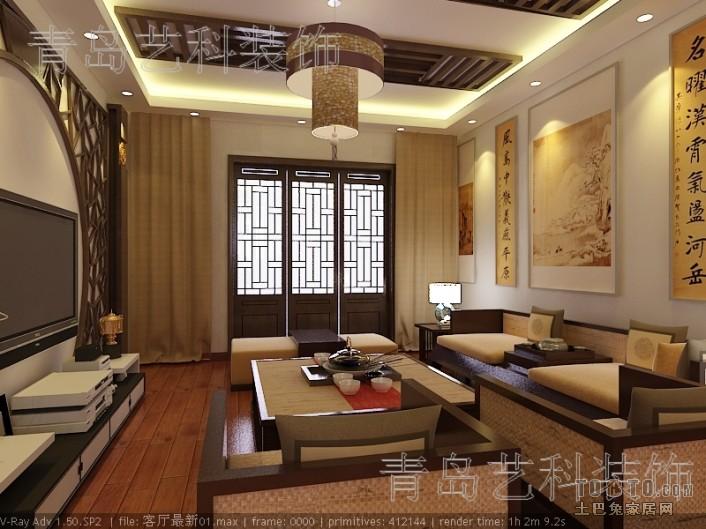 雍翠华苑-中式古典客厅装修效果图图片