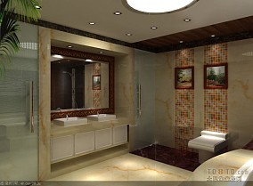 美式卫生间浴室玻璃门效果图