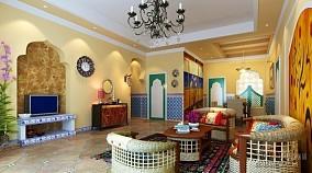 精选面积74平小户型客厅东南亚装修设计效果图片