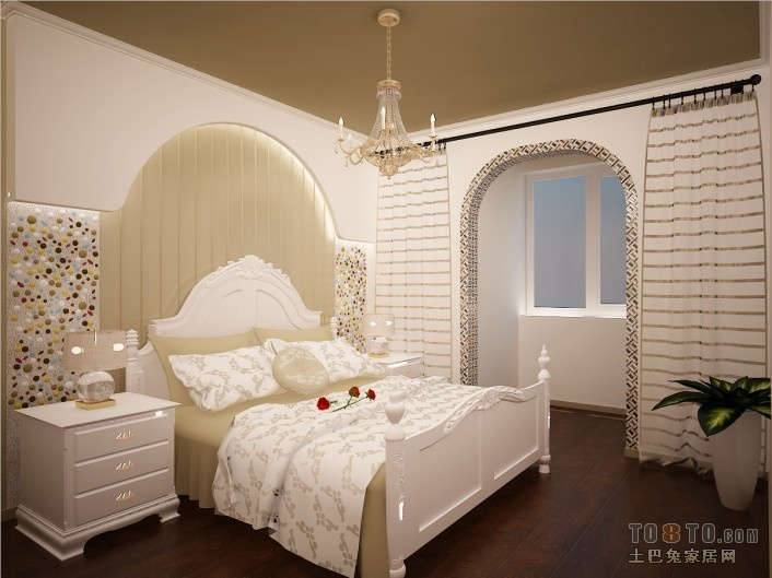 海湾公寓-地中海风格卧室装修效果图