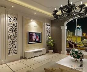 2018100平米3室客厅混搭装修实景图片