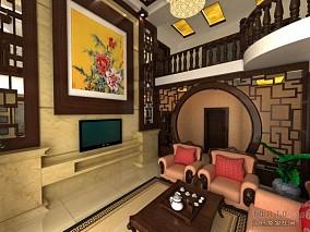 别墅客厅电视墙效果图