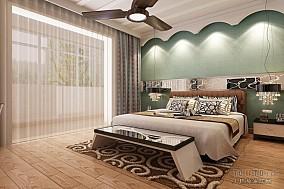 2018精选74平米二居卧室混搭装修设计效果图