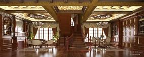 欧式田园风格餐厅圆吊顶设计图片