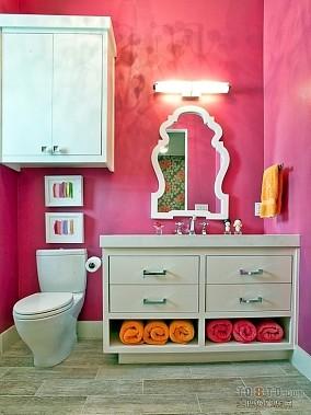 粉色系二居家庭卫生间装修效果图大全2012图片