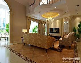 热门面积111平复式客厅新古典效果图片