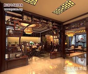 面积135平复式餐厅中式装修设计效果图