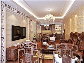 面积116平中式四居客厅装修效果图