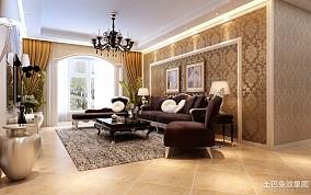 面积104平欧式三居客厅装修实景图片