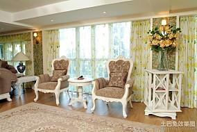 欧式田园风格客厅窗帘装修图片