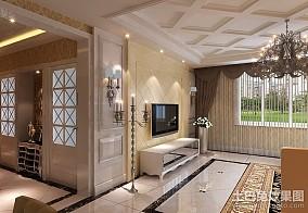 精美面积102平欧式三居客厅装修欣赏图