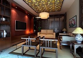 2018精选105平方三居客厅美式实景图