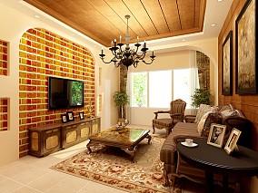 精选95平米三居客厅美式装饰图片