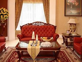 美式客厅窗帘装修效果图